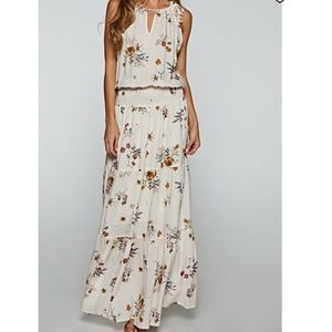 NWT Lovestitch White Floral Smocked Waist Maxi